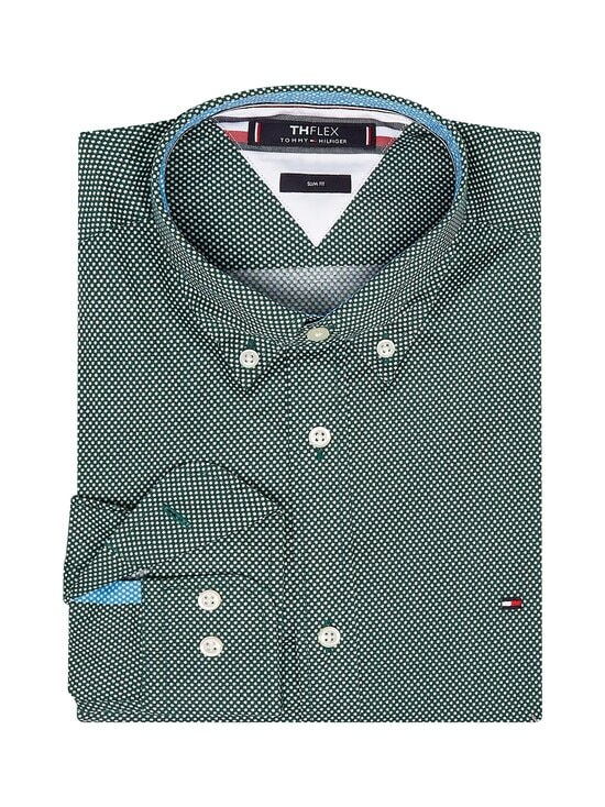Tommy Hilfiger - Slim Flex -kauluspaita - 0H7 RURAL GREEN / WHITE | Stockmann - photo 3