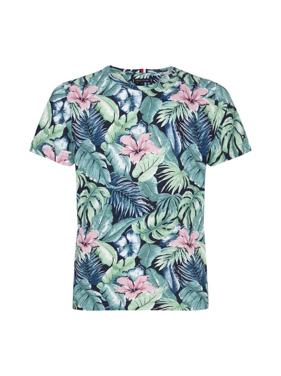 Tommy Hilfiger - All Over Flower Print Tee -paita - 0H7 GREEN BAY/MULTI   Stockmann - photo 1