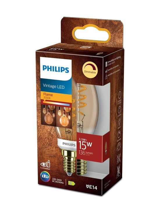 Philips - Vintage LED Candle 15W E14 Flame Dimming -kynttilälamppu - WHITE | Stockmann - photo 1