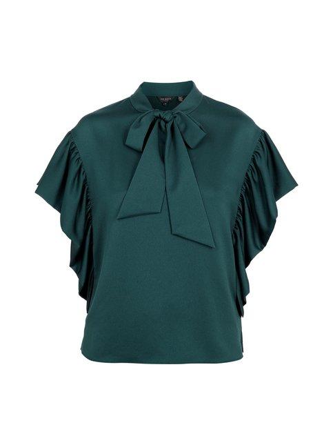 Robynn Tie Neck Frilled Sleeve -pusero