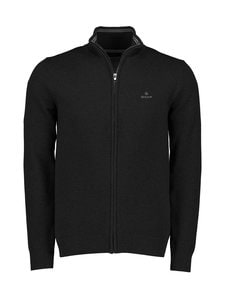 GANT - Cotton Piqué Zip Cardigan -puuvillaneuletakki - 5 BLACK | Stockmann
