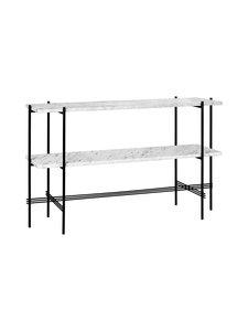 Gubi - TS Console -pöytä 120 x 30 x 72 cm - WHITE MARBLE/BLACK | Stockmann
