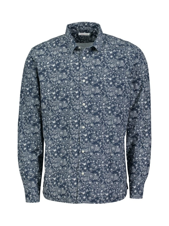 Outline Flower Printed Shirt -kauluspaita