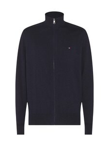 Tommy Hilfiger - Pima Cotton Cashmere Zip Through -neuletakki - BD2 BLACK HEATHER | Stockmann