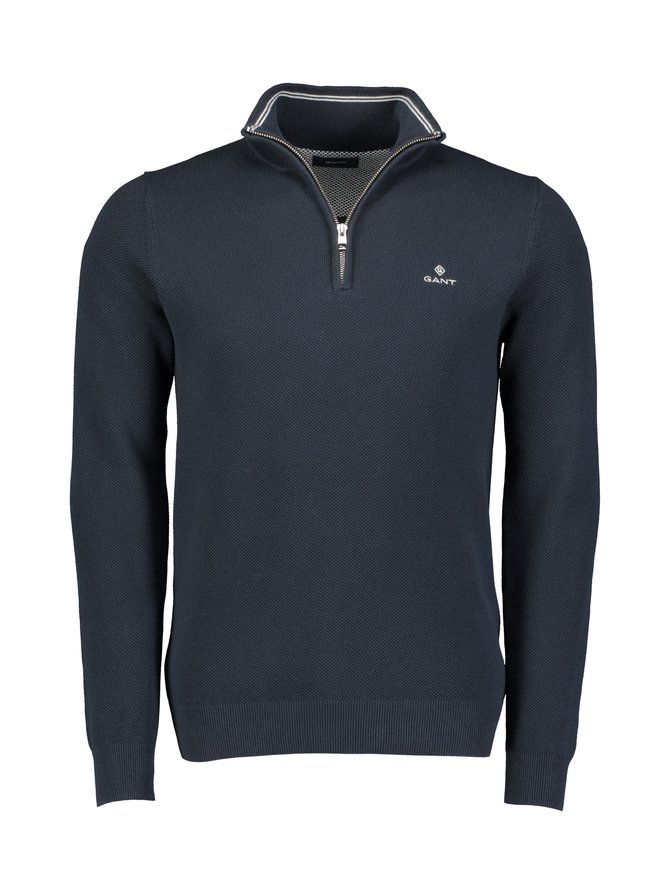 Cotton Piqué Half Zip -puuvillaneule