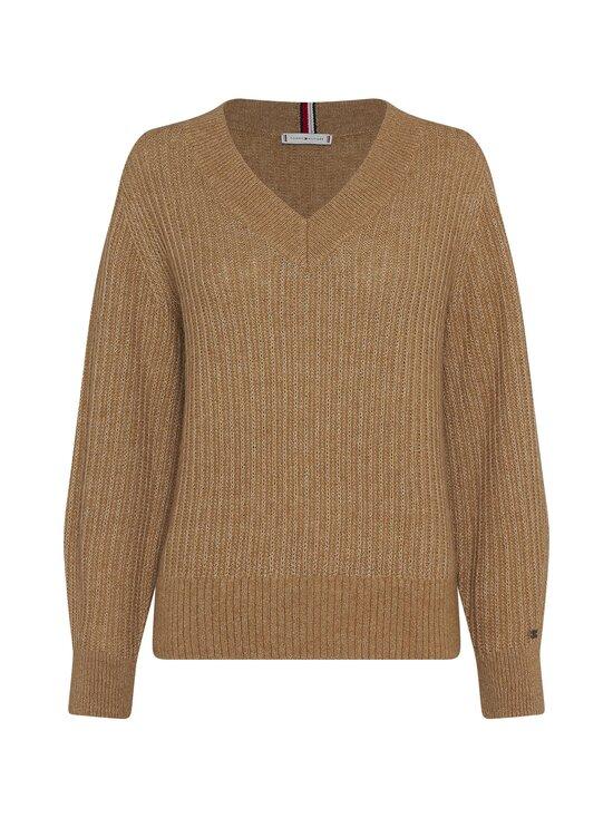 Tommy Hilfiger Curve - Textured Stitch V-Neck Sweater -villasekoiteneule - GV7 TIMELESS CAMEL   Stockmann - photo 1