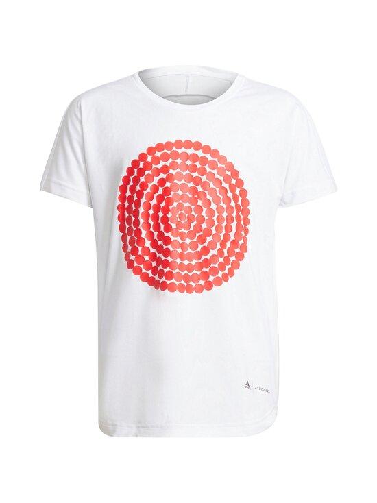adidas x Marimekko - Primegreen Aeroready pitkä T-paita - WHITE/VIVRED | Stockmann - photo 1