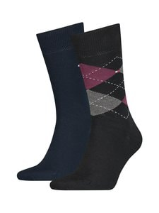 Tommy Hilfiger - Th Men Sock Check -sukat 2-pack - 013BLACK COMBO | Stockmann