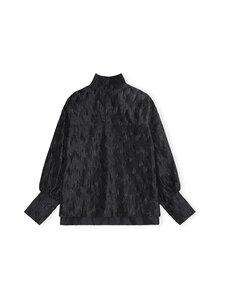 Ganni - Pleated Satin Oversized Blouse -pusero - BLACK | Stockmann