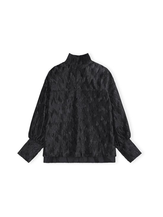 Ganni - Pleated Satin Oversized Blouse -pusero - BLACK | Stockmann - photo 1