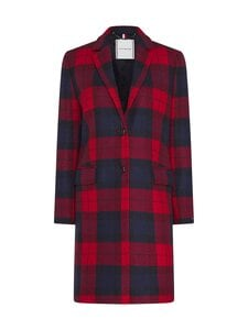 Tommy Hilfiger - Wool Blend Check Classic Coat -villakangastakki - 0QP JOANNA CHK / PRIMARY RED | Stockmann