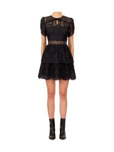 Self-Portrait - Lace Guipure Tiered Mini -mekko - BLACK | Stockmann