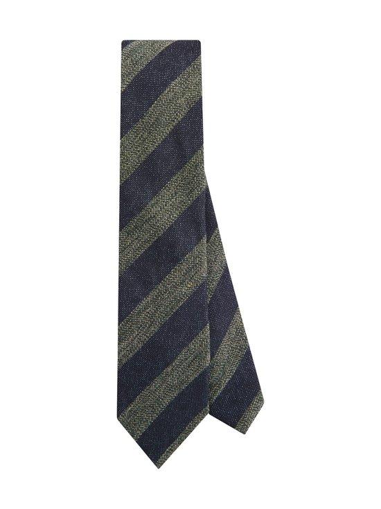 Tommy Hilfiger Tailored - Stripe Cotton Blend -puuvillasekoitesolmio - 0ZU NAVY/GREEN | Stockmann - photo 1