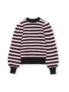Ganni - Soft Wool Knit Pullover Striped -villasekoiteneule - PALE LILAC | Stockmann