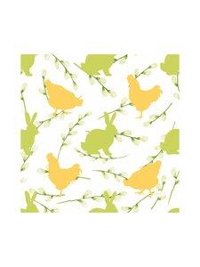 Duni - Bunnies & Hens -servetti 33 x 33 cm, 20 kpl - WHITE-YELLOW-GREEN | Stockmann