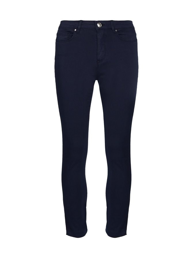 Skinny Stretch Cotton Garment Dyed Trousers -housut