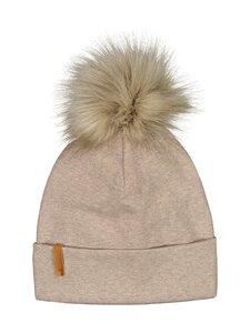 Metsola - RIB Beanie with Fur pom pom -pipo - 41 CASHEW | Stockmann