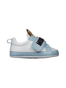 Moschino - Nahkasneakerit - WHITE/SKY BLUE/BLACK EMBROIDERY | Stockmann