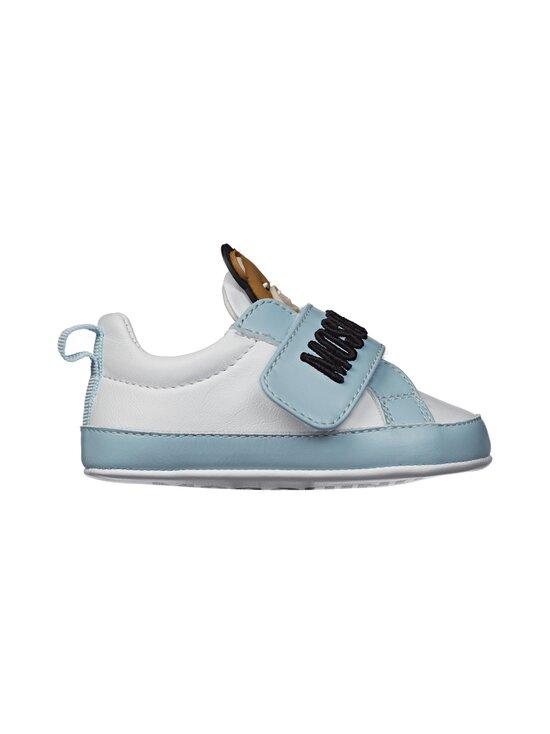 Moschino - Nahkasneakerit - WHITE/SKY BLUE/BLACK EMBROIDERY | Stockmann - photo 1