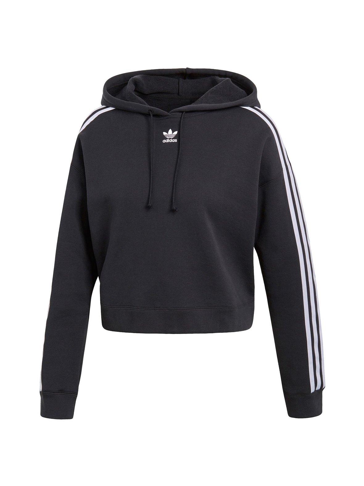 Black (musta) Adidas Originals Cropped Hoodie -huppari CY4766  ea22eff680