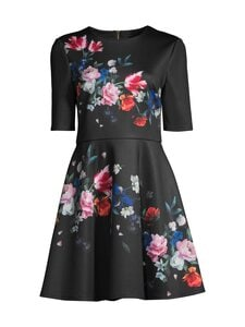Ted Baker London - Zalena Sandalwood Mid Sleeve Skater Dress -mekko - 00 BLACK | Stockmann