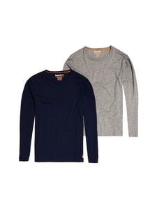 Superdry - Laundry Slim Fit LS Tee -paita 2-pack - V6B LAUNDRY NAVY/LAUNDRY GREY MARL | Stockmann