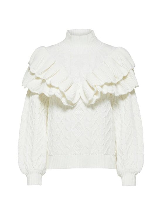 Selected - SlfVictoria LS Knit Cable Highneck -puuvillasekoiteneule - SNOW WHITE | Stockmann - photo 1
