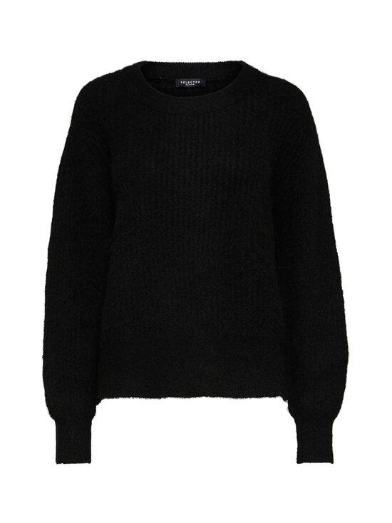 Selected - SlfSif-Kai LS Rib Knit O-Neck -villasekoiteneule - BLACK | Stockmann - photo 1
