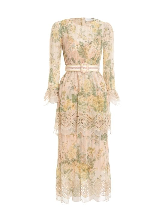 Zimmermann - Amelie Pintuck Flounce Dress -mekko - PEACH FLORAL PEFL | Stockmann - photo 1