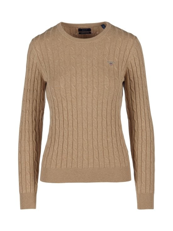 Stretch Cotton Cable Crew -neule