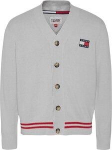 Tommy Jeans - Tjm Badge Textured Cardigan -neuletakki - PJ4 SILVER GREY HTR | Stockmann