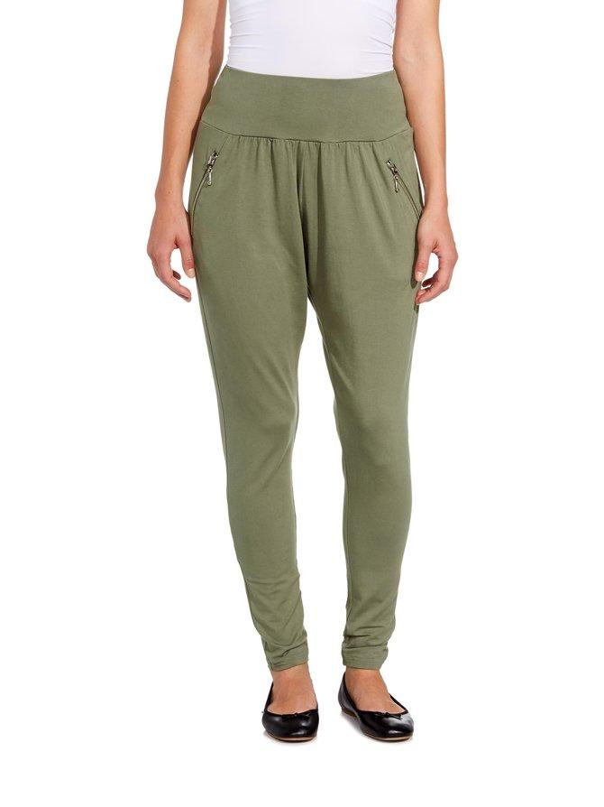 Bamboo zipper jogger -housut