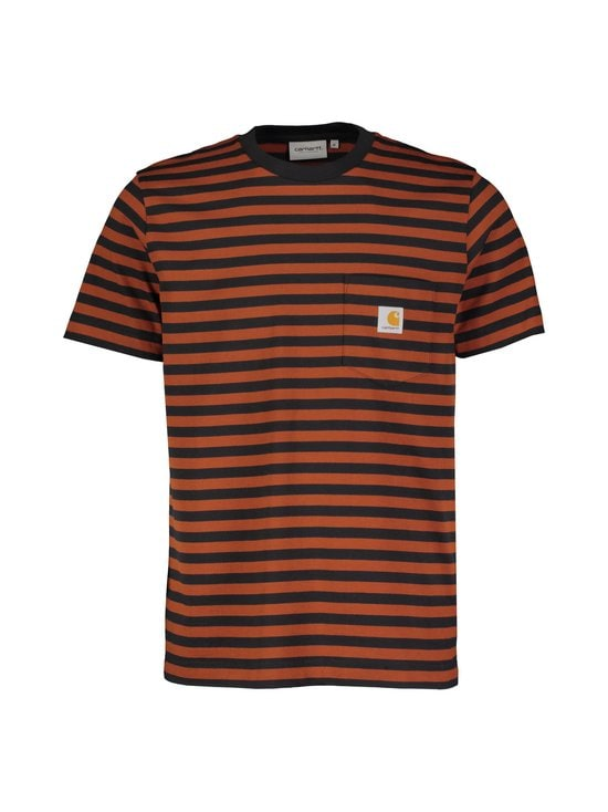 Carhartt WIP - S/S Parker Pocket T-Shirt -paita - PARKER STRIPE, BLACK / BRANDY | Stockmann - photo 1