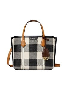 Tory Burch - Perry Gingham Small Triple-Compartment Tote Bag -laukku - BLACK / NEW IVORY GINGHAM   Stockmann