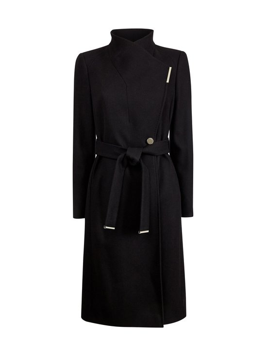 Ted Baker London - Rose Midi Wool Wrap Coat With Shoulder Panels -villakangastakki - BLACK | Stockmann - photo 1
