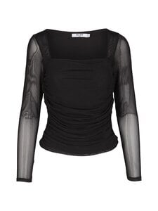 NA-KD - Ruched Long Sleeve -pusero - BLACK | Stockmann