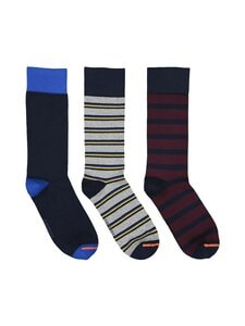 Superdry - City Sock -sukat 3-pack - 3OO NAVY/GREY STRIPE/WINE STRIPE | Stockmann