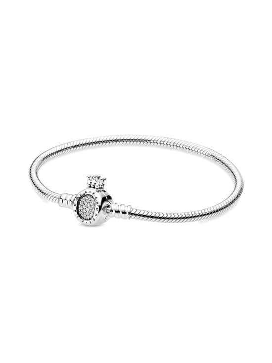 Snake Chain Sterling Silver Bracelet and Crown O Clasp -rannekoru