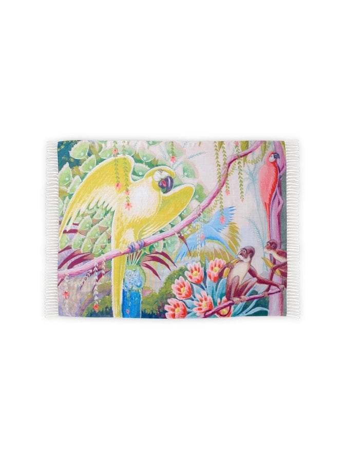 Sitruunankeltainen papukaija -huopa 130 x 170 cm