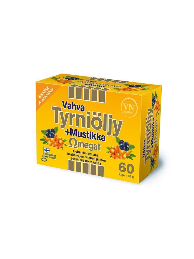 Vahva Tyrniöljy + Mustikka Omegat -ravintolisä 60 kaps./58 g
