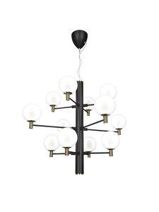 Design by Grönlund - Jubileum 12 -kattovalaisin 70 cm - BLACK / MAT BRASS / OPAL GLASS   Stockmann