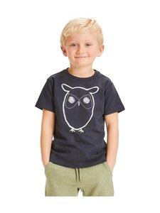 Knowledge Cotton Apparel - Flax Owl AOP Tee -paita - 1001 TOTAL ECLIPSE   Stockmann