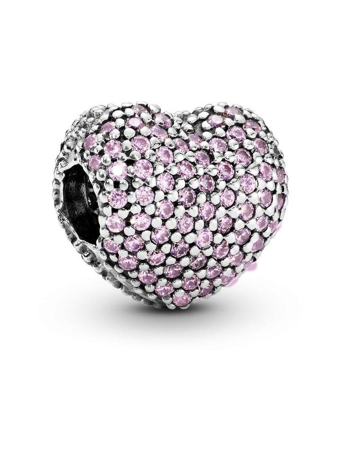 Heart Pave Silver Clip