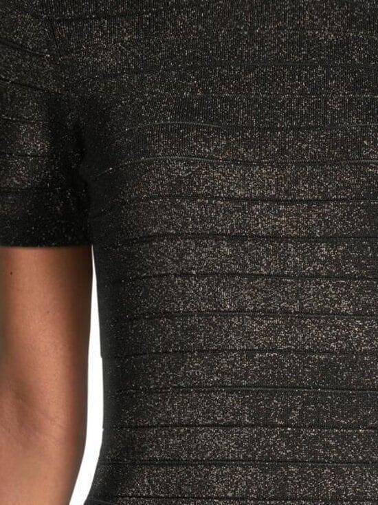 Karl Lagerfeld - Lurex Mock Neck Short Sleeve -neule - BLACK   Stockmann - photo 3