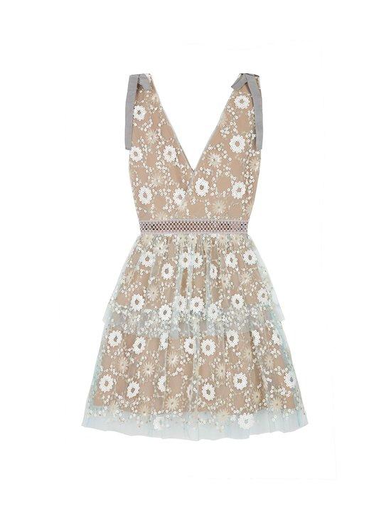 Flower Sequin Tiered Mini Dress -mekko