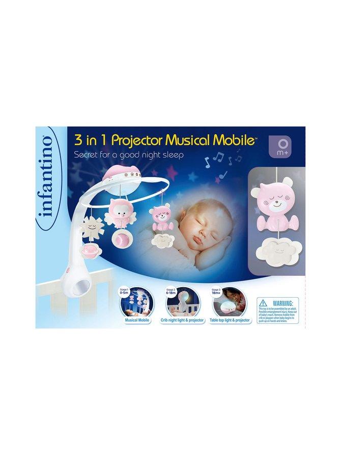 Infantino 3-in-1 -projektori musikaalinen himmeli, pinkki