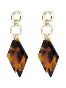 Ted Baker London - Deajra Double Diamond Drop Earring -korvakorut - GOLD, TORTOISESHELL   Stockmann