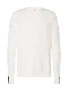 Tommy Hilfiger Tailored - Textured Stripe Crew Neck -puuvillaneule - YBL ECRU | Stockmann
