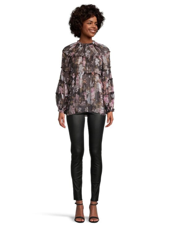Zimmermann - Charm Tiered Blouse -silkkipusero - BLACK FLORAL BLF | Stockmann - photo 2