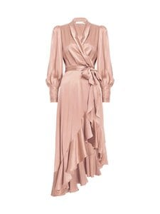 Zimmermann - Silk Wrap Midi Dress -silkkimekko - LIPSTICK LIP | Stockmann